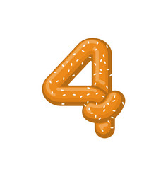 Number 4 pretzel snack font four symbol food vector