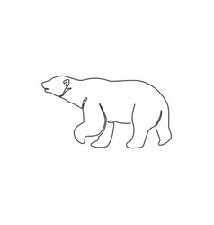 one single line drawing cute grizzly bear for vector image