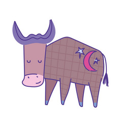 Ox animal cartoon doodle color on white background vector