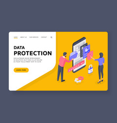 people using protected data man browsing folder vector image