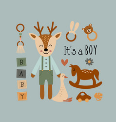 Poster with deer boy and bohemian elements vector