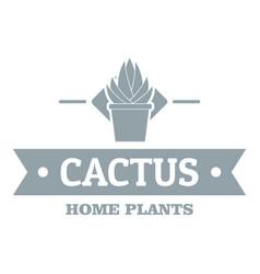 Pot cactus logo simple gray style vector