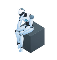 robot thinking on cube isometric composition vector image