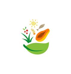 salad food bowl fish leaf papaya turmeric logo vector image