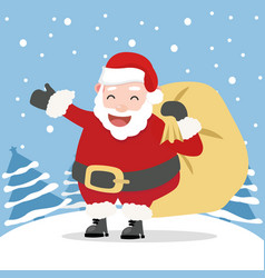 santa claus with tree background vector image
