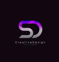 Sd letter logo design purple texture creative vector