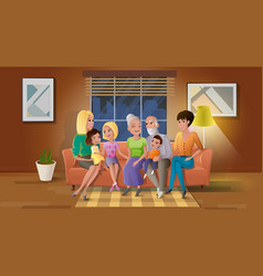 senior couple spending time with children vector image