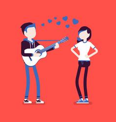 Serenade dating couple vector