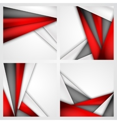 Set Abstract background of red white and black vector image