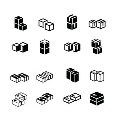 Set of box interlace icons vector