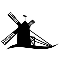 Silhouette of windmill vector