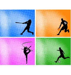 sport silhouettes on absttact halftone vector image