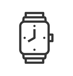 square handwatch with clock hand line style vector image