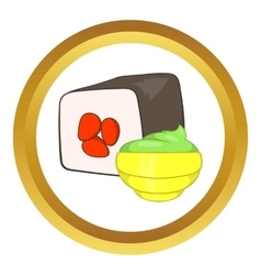 Sushi roll and wasabi icon vector image