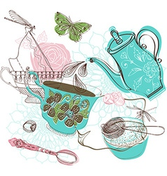 Tea time with flowers vector image