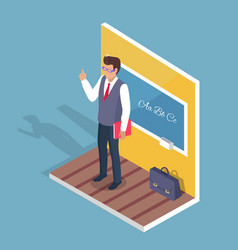 teacher standing near blackboard on grammar lesson vector image