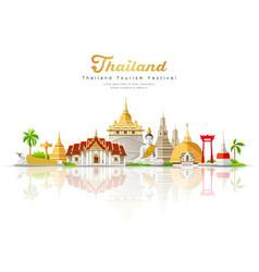 Thailand tourism festival building landmark vector