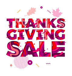 thanksgiving sale paper cut color text font for vector image