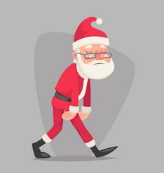 tired sad weary santa claus vintage walk character vector image