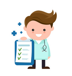 Toung cute happy smiling medical doctor vector