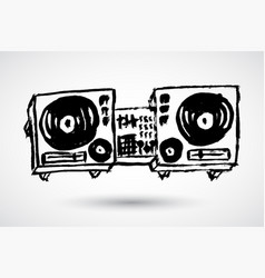 Turntables audio equipment isolated on white vector