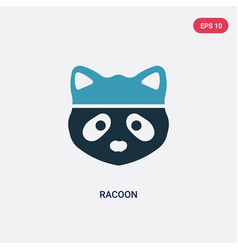 Two color racoon icon from animals concept vector