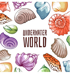 underwater world inhabitants mussel shellfish vector image