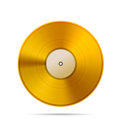Vintage golden vinyl disc template on white vector