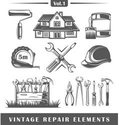 vintage repair elements vector image