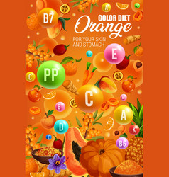 Vitamins and minerals in orange fruits vegetables vector