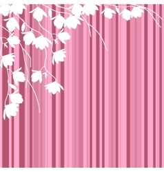 White magnolia branches on pink striped background vector