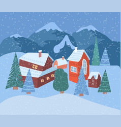winter village landscape vector image