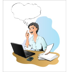 Woman has idea in the office vector image