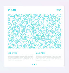World asthma day concept with thin line icons vector