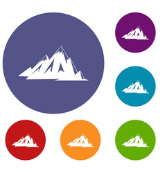 Canadian mountains icons set vector