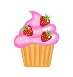 Cute cupcakes flat cartoon style Cake with cream vector image