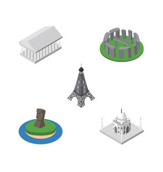isometric architecture set of paris chile athens vector image vector image