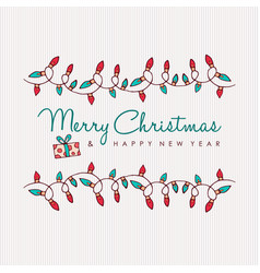 Merry christmas and happy new year hand drawn vector