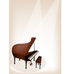 A Retro Grand Piano on Brown Stage Background vector image