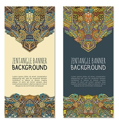 colored hand drawn zentangle banner templates vector image