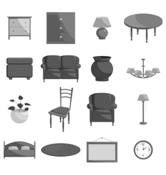 Furniture icons set black monochrome style vector image vector image