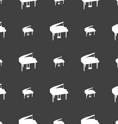 Grand piano icon sign seamless pattern on a gray vector