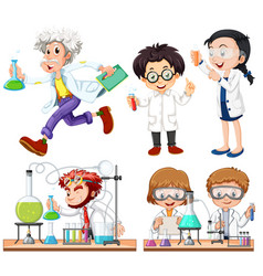 many scientists doing experiment vector image vector image