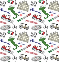 Milan Italy seamless pattern with Hand drawn vector image vector image