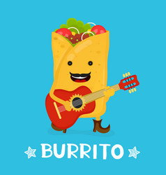 tasty cute happy smiling burrito dance vector image