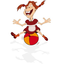 The cheerful smiling girl plays with a ball vector image vector image