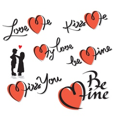 valentine hand lettering set vector image vector image