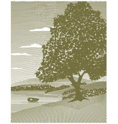 woodcut lake landscape vector image vector image
