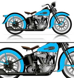 blue classic motorcycle vector image vector image