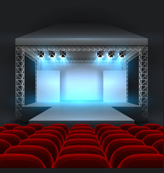 empty theatre stage with spotlight lighting vector image